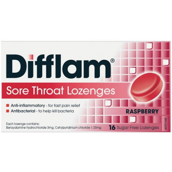 Difflam Sore Throat Lozenges Raspberry 16