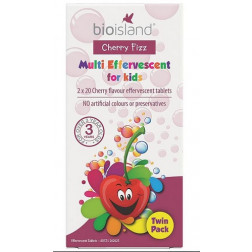 Bio Island Cherry Fizz Multi Effervescent For Kids Twin Pack 40 Tablets