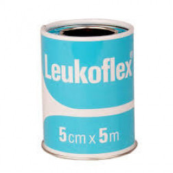 Leukoflex 5cm x 5m  (White on Sky Blue Spool)