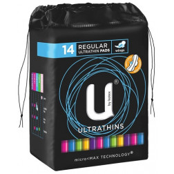 U by Kotex Pads Regular Ultrathin with Wings 14