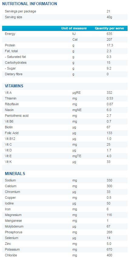 Optifast VLCD Chocolate Original Shake Nutritional Information.JPG